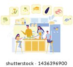 happy family cooking healthy... | Shutterstock .eps vector #1436396900