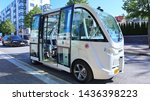 Small photo of Helsinki, Finland -06-28-2019: Robot bus or driverless bus on its route in Southern Helsinki. Autonomous bus drives along its route like a lift. It scans its surroundings and knows when to slow down.