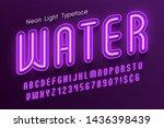 neon light 3d alphabet  extra... | Shutterstock .eps vector #1436398439