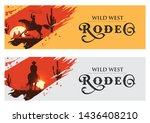 cowboy banners  rodeo cowboy... | Shutterstock .eps vector #1436408210