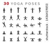 yoga poses asanas icons set.... | Shutterstock .eps vector #1436419853