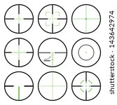 Vector crosshairs set with green sights. Each crosshair in seperated layers.