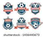 different logos for football... | Shutterstock . vector #1436440673