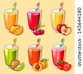 vector fruit juice icon set | Shutterstock .eps vector #143644180