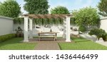 Lush Garden With Table Set...