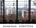 Small photo of Image depicts a mundane look from the houses in Mumbai during the rainy season with droplets on the grills and saplings planted around. The clips on the grills gives it a typical Indian house look.