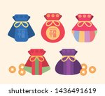 korean traditional bags  lucky... | Shutterstock .eps vector #1436491619