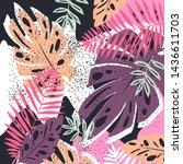 tropical jungle leaves pattern. ... | Shutterstock .eps vector #1436611703