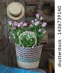 Basket With Pink Flowers Bells...