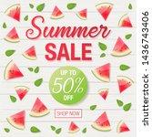 summer sale text on wooden... | Shutterstock .eps vector #1436743406