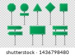 set of green road signs on...   Shutterstock . vector #1436798480