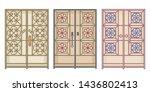 old antique doors in arab gulf... | Shutterstock .eps vector #1436802413