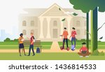 students walking and chatting... | Shutterstock .eps vector #1436814533