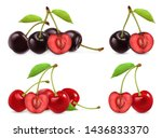 cherries. whole and half... | Shutterstock .eps vector #1436833370