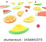 3d summer fruits  watermelon ... | Shutterstock . vector #1436842373