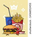 lunch with french fries ...   Shutterstock .eps vector #1436852453