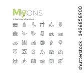 bundle of thin line symbols or... | Shutterstock .eps vector #1436858900