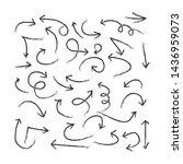 arrow set doodle style vector | Shutterstock .eps vector #1436959073