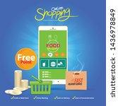 shopping online on website or...   Shutterstock .eps vector #1436978849