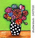 Retro Polka Dot Bouquet Illustration/Painting - stock photo