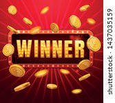 the winner red banner with... | Shutterstock .eps vector #1437035159