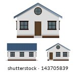 House Vector Image Set In Three ...