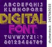 digital alphabet font. pixel... | Shutterstock .eps vector #1437065033