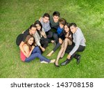 happy group of students sitting ...   Shutterstock . vector #143708158
