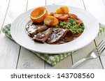 roast beef and yorkshire pudding | Shutterstock . vector #143708560