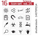 vector black science icon set | Shutterstock .eps vector #143709214