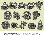 new years objects of woodblock... | Shutterstock .eps vector #1437123749
