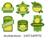 lemonade badges. lemon drink... | Shutterstock .eps vector #1437169970