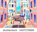 damaged city street. earthquake ... | Shutterstock .eps vector #1437170000