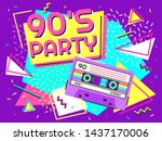 retro party poster. nineties... | Shutterstock .eps vector #1437170006