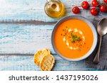 tomato cream soup with fresh... | Shutterstock . vector #1437195026
