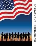 silhouette of women s soccer... | Shutterstock .eps vector #1437195509