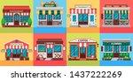 restaurants and shops facades.... | Shutterstock .eps vector #1437222269