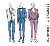 stylish handsome mans in... | Shutterstock .eps vector #1437226913