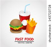 fast food label over gray... | Shutterstock .eps vector #143723728