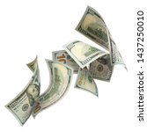 Small photo of Flying 100 American dollars banknotes, isolated on white background
