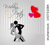 wedding party over gray... | Shutterstock .eps vector #143731084