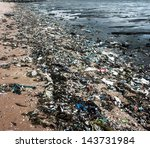 garbage on the beach   Shutterstock . vector #143731984