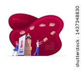 online shopping on smart phone  ... | Shutterstock .eps vector #1437348830