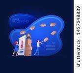 online shopping on smart phone  ... | Shutterstock .eps vector #1437348839