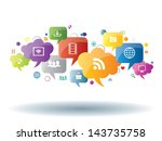 social network  sharing and... | Shutterstock .eps vector #143735758