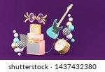 guitar amplifiers  guitars and... | Shutterstock . vector #1437432380