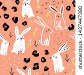 seamless pattern with cute hand ... | Shutterstock .eps vector #1437447380