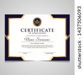 elegant blue and gold diploma... | Shutterstock .eps vector #1437506093