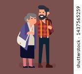 grown up grandchildren concept...   Shutterstock .eps vector #1437565259