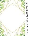 green leaves geometric frame...   Shutterstock .eps vector #1437567113